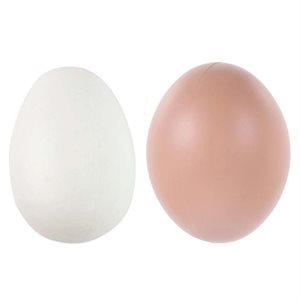 Faux oeuf blanc / brun en plastique